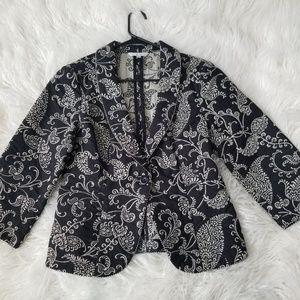 Cabi Size 6 Tapestry #312 Cream Black Blazer Jacke